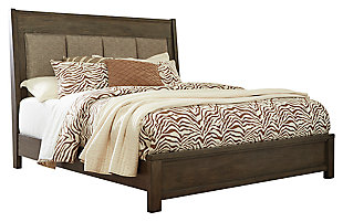 Camilone Queen Upsholstered Panel Bed, Dark Gray, large
