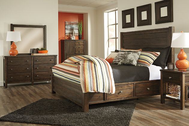 Rokane Queen Poster Bed With Storage Ashley Furniture Homestore