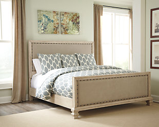 Demarlos Queen Upholstered Bed, Parchment White, rollover
