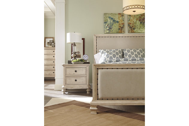 Demarlos Queen Upholstered Bed, Parchment White, large