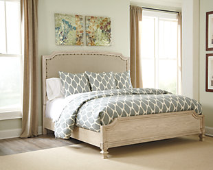 Demarlos Queen Upholstered Panel Bed, Parchment White, rollover
