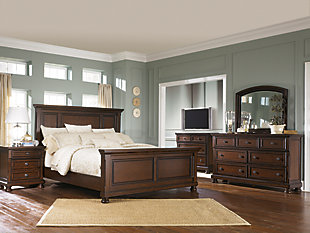 ... Large Porter 5 Piece Queen Master Bedroom, Rustic Brown, Rollover