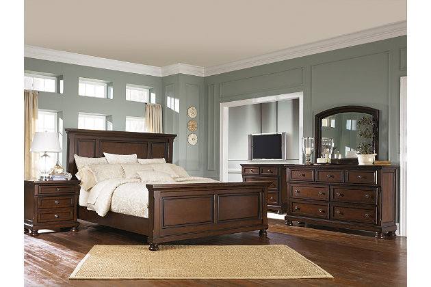 Porter 5-Piece Queen Master Bedroom, Rustic Brown, large
