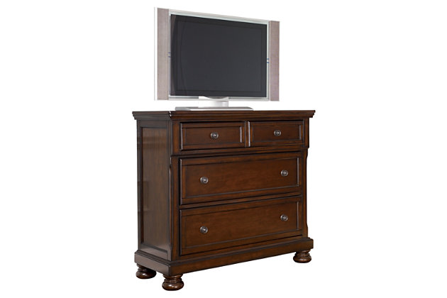 Bedroom furniture shown on a white background. Porter Media Chest   Ashley Furniture HomeStore