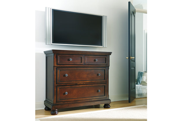Porter traditional dark brown media chest. Porter Media Chest   Ashley Furniture HomeStore