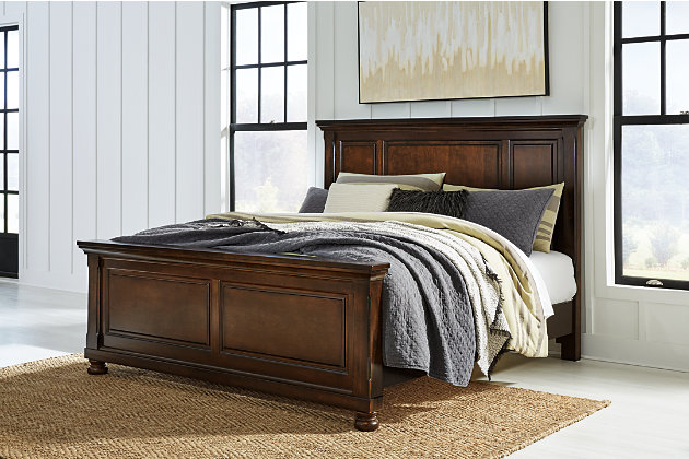 Porter Queen Panel Bed, Rustic Brown, large