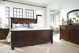 Angled View Of Porter Traditional Dark Wood Bedroom Set Part 82