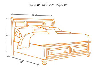 Porter Queen Sleigh Bed with Mirrored Dresser and Chest, Rustic Brown, large