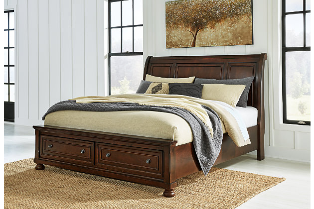 Porter Queen Sleigh Bed, Rustic Brown, large