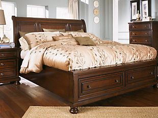 Porter King Sleigh Bed, Rustic Brown, rollover