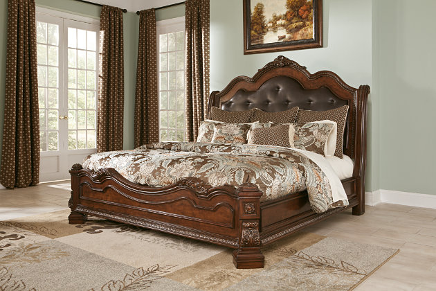 home ledelle queen sleigh bed traditional dark cherry finish on this dark brown upholstered headboard and footboard set