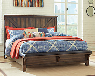 Lakeleigh Queen Panel Bed with Upholstered Bench, Brown, rollover