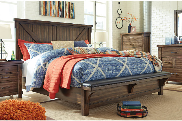 Lakeleigh Queen Panel Bed with Upholstered Bench, Brown, large