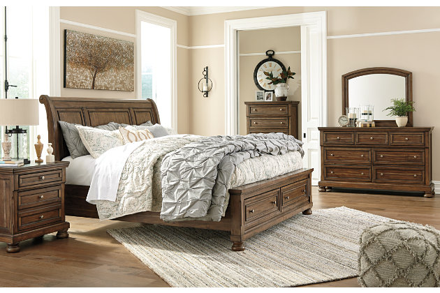 Flynnter Queen Storage Sleigh Bed, Medium Brown, large