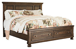 Flynnter Queen Panel Bed with 2 Storage Drawers, Medium Brown, large