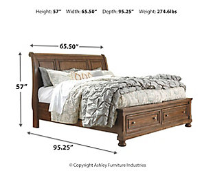 Flynnter Queen Sleigh Bed with 2 Storage Drawers, Medium Brown, large
