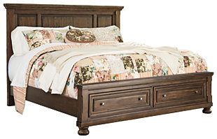 Flynnter Queen Panel Bed with Storage, Medium Brown, large