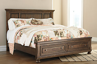 Flynnter Queen Panel Bed with Storage, Medium Brown, rollover