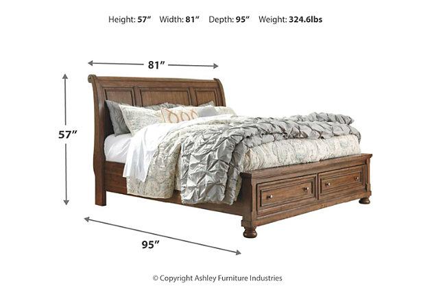 Flynnter California King Sleigh Bed with 2 Storage Drawers, Medium Brown, large