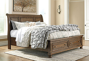 Flynnter Queen Sleigh Bed with 2 Storage Drawers, Medium Brown, rollover