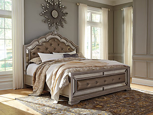 Birlanny Queen Panel Upholstered Bed, Silver, rollover