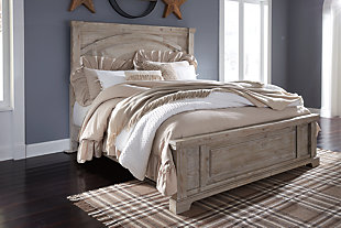 Charmyn Queen Panel Bed, White Wash, rollover