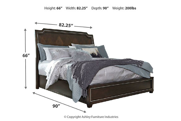 Zimbroni King Panel Bed, Brown, large