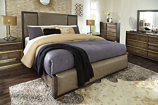 Chaliene King Upholstered Panel Bed, Light Brown, large