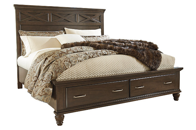 Brossling Queen Panel Bed with Storage, Dark Brown, large