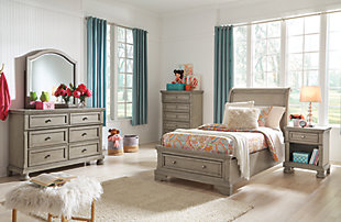 Lettner Twin Sleigh Bed, Light Gray, large