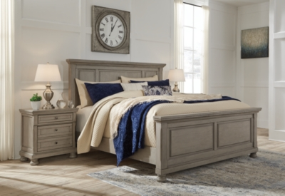 Lettner Queen Panel Bed, Light Gray, large