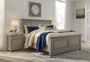 Lettner Queen Panel Bed, Light Gray, rollover