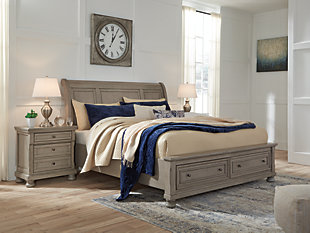 Lettner Queen Sleigh Bed with 2 Storage Drawers, Light Gray, rollover