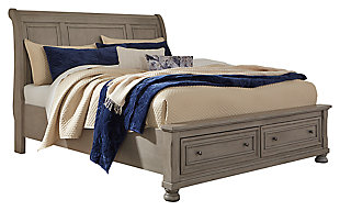 Lettner Queen Sleigh Bed with 2 Storage Drawers, Light Gray, large