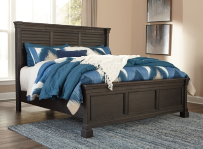 Longstanding Cal King Louvered Bed Black Gray Creek Product Photo