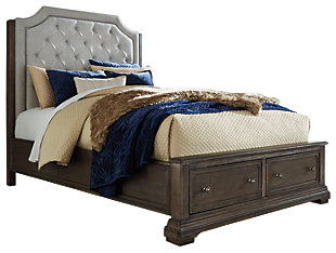 Mikalene Queen Panel Bed with Storage, Brown Metallic, large