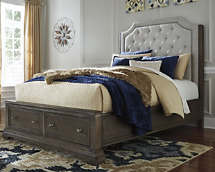 Mikalene Queen Panel Bed with Storage, Brown Metallic, rollover
