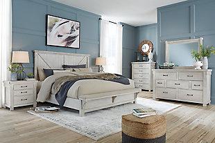 Brashland California King Panel Bed, White, large