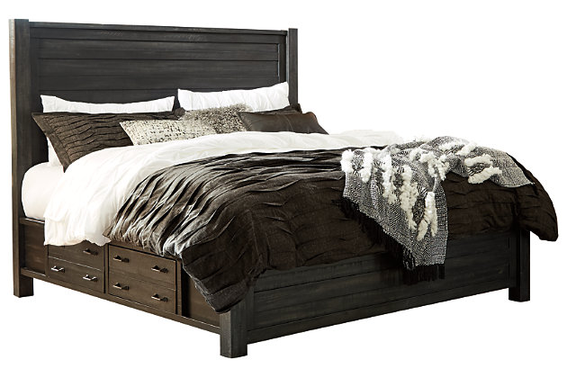Baylow Queen Panel Bed with 4 Storage Drawers, Black, large