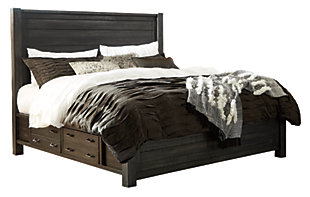 Baylow King Panel Bed with 4 Storage Drawers, Black, large