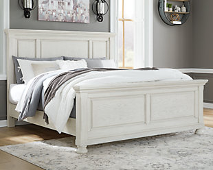 Robbinsdale Queen Panel Bed, Antique White, rollover