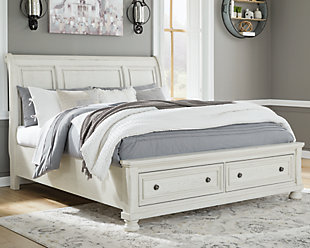Robbinsdale Queen Sleigh Bed with Storage, Antique White, rollover