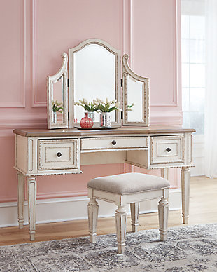 Realyn Vanity and Mirror with Stool, , rollover