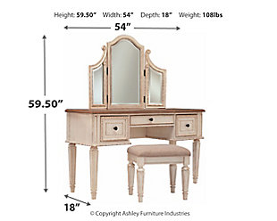 Realyn Vanity and Mirror with Stool, , large