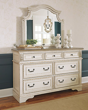 dresser with hutch mirror triple realyn dresser and mirror dressers ashley furniture homestore
