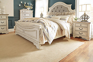 Realyn King Upholstered Panel Bed, Chipped White, large