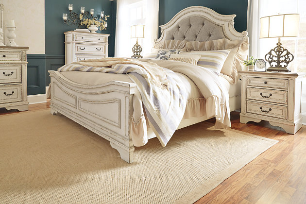 Realyn Queen Upholstered Panel Bed, Chipped White, large