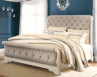 Realyn Queen Sleigh Bed, Chipped White, rollover