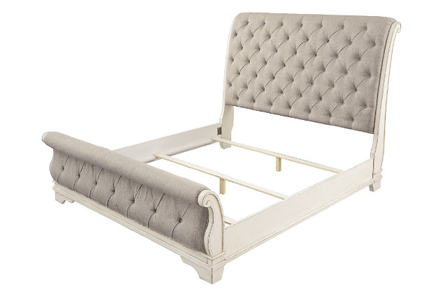 Realyn Queen Sleigh Bed, Chipped White, large