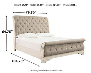Realyn King Sleigh Bed, Chipped White, large